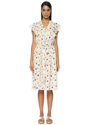 Beymen Club V Yaka Çiçek Desenli Midi Elbise Bej